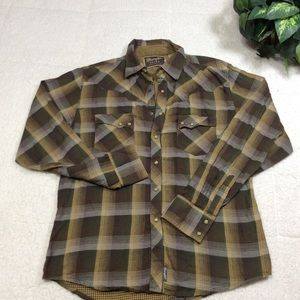 Wangle Long Sleeve Brown Plaid Shirt Sz L